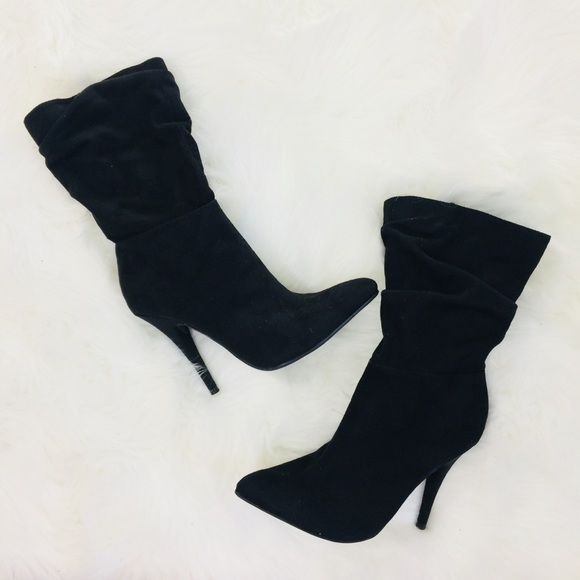 Blue Faux Suede Lace Up Almond Toe High Heel Platform Ankle Boot Anne Michelle